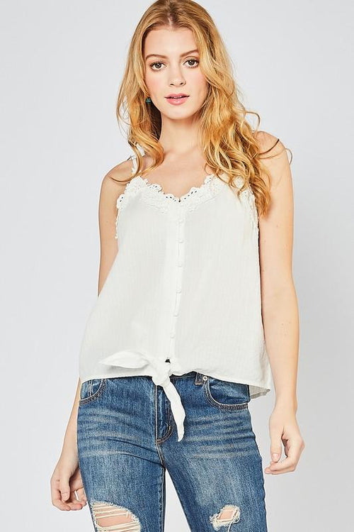 Off White Button-up Camisole Top