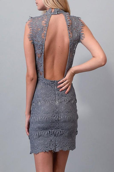 Slate Colored Open Back Lace Dress