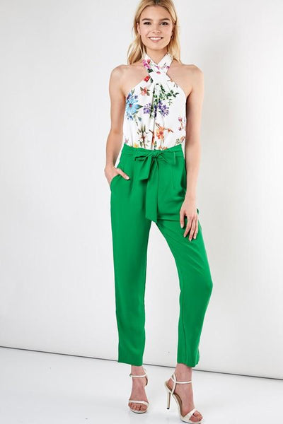 Green Ribbon Tie Belt Pants