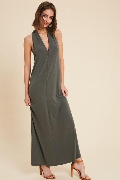 Olive Colored Halter Maxi Dress - THE WEARHOUSE