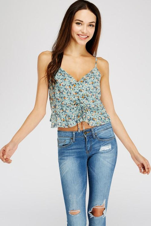 Teal Ruched Floral Printed Cami Top