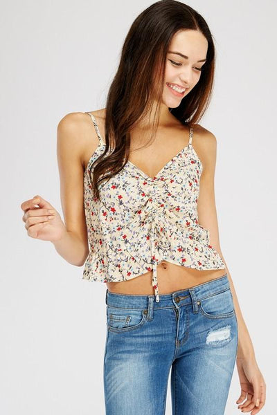 Cream Ruched Floral Printed Cami Top