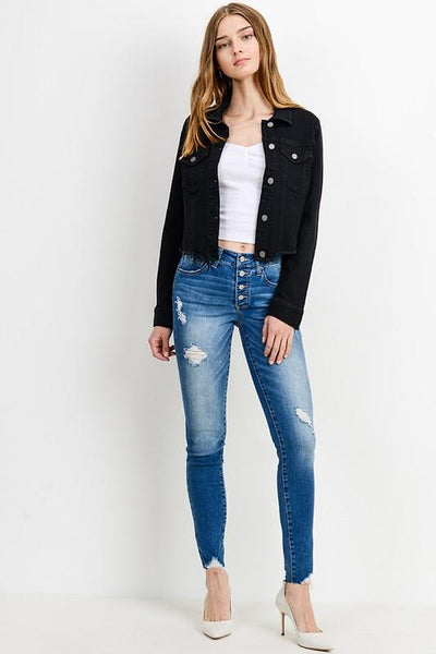 Black Raw Cut Denim Jacket - THE WEARHOUSE