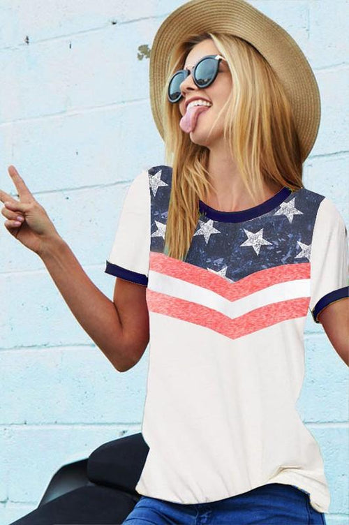 Stars and Stripes Print Ringer Tee
