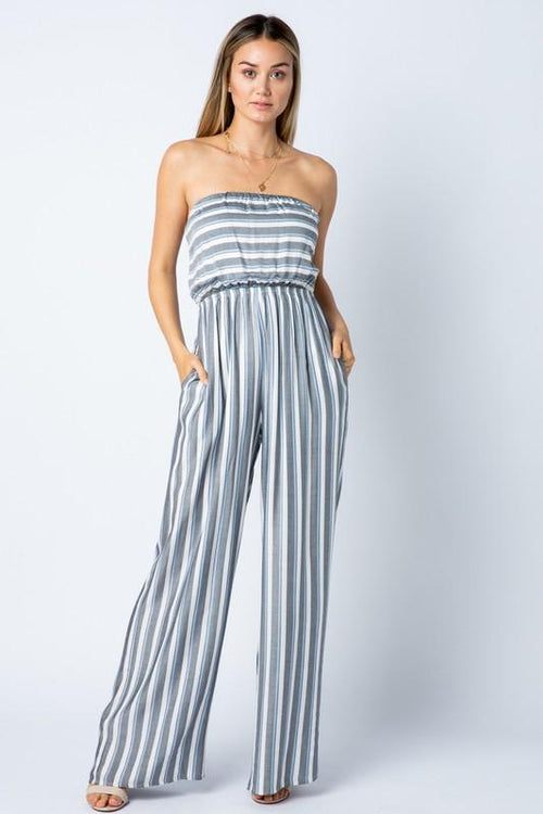 Black Stripe Strapless Jumpsuit