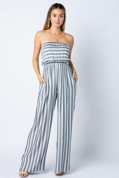 Black Stripe Strapless Jumpsuit - THE WEARHOUSE