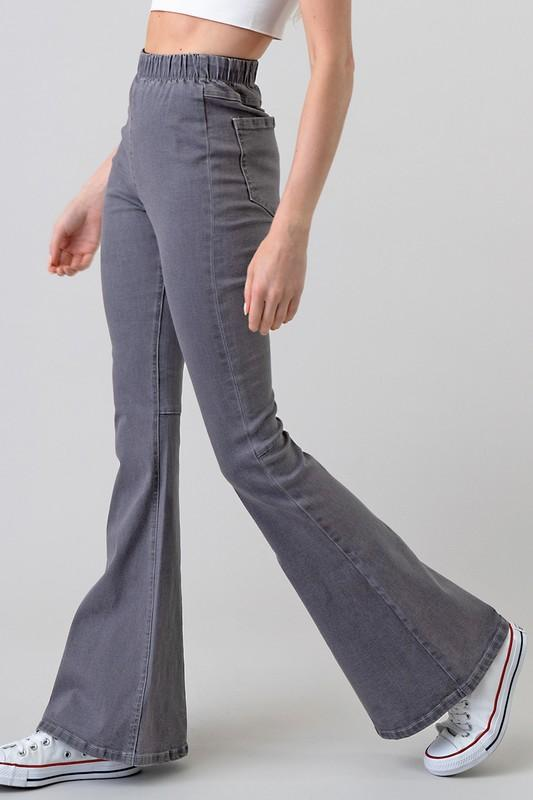 Grey High Waisted Denim Bell Bottom Pants - THE WEARHOUSE