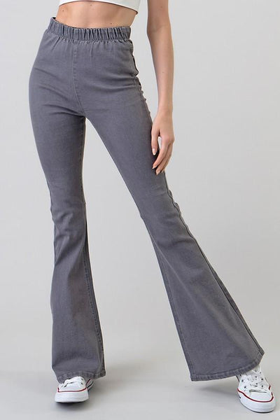 Grey High Waisted Denim Bell Bottom Pants