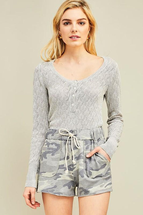 Grey Camouflage Drawstring Shorts