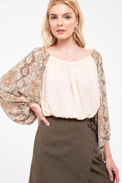Taupe Contrasting Snake Print Sleeve Top
