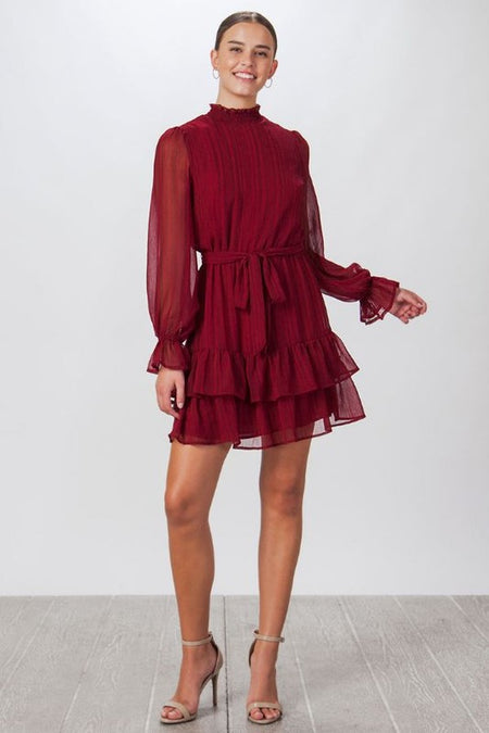 Terracotta Solid baby Ruffle Long Sleeve Dress