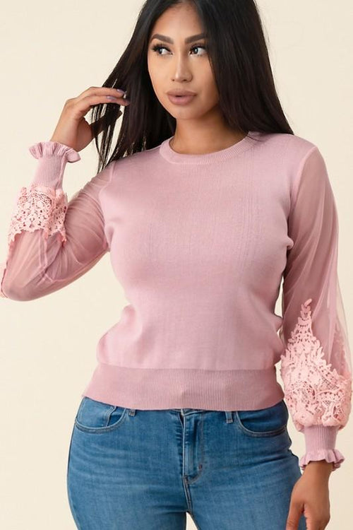 Pink Laced Trimmed Sweater