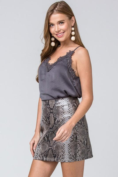 Grey Reptile Print Faux Leather Skirt
