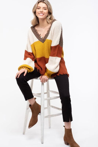 Distressed Colorblock Sweater