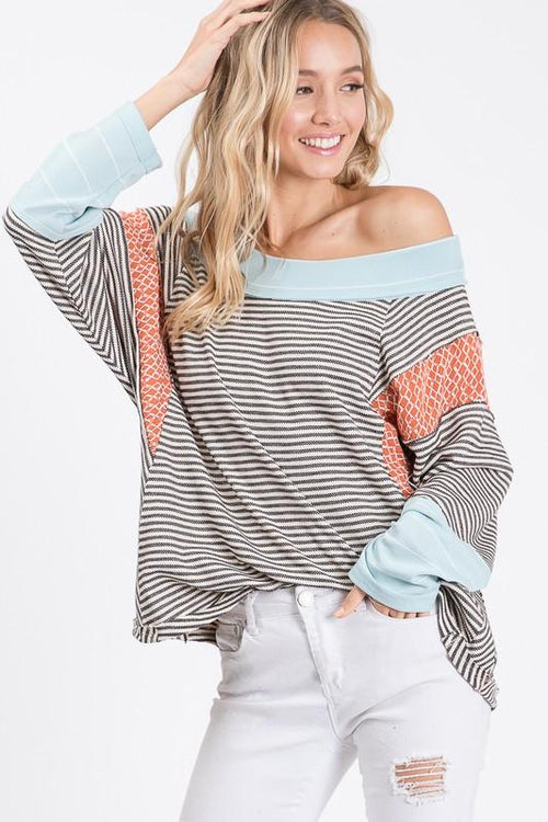 Black and White Striped and Print Long Sleeve Top