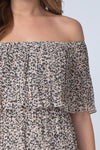 Taupe Leopard Print Pleated Dress