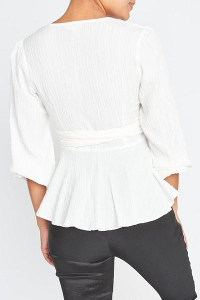 White Wrap Crinkle Blouse - THE WEARHOUSE