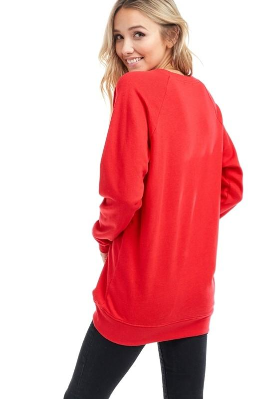 "Red ""Game Day"" Graphic Sweatshirt"