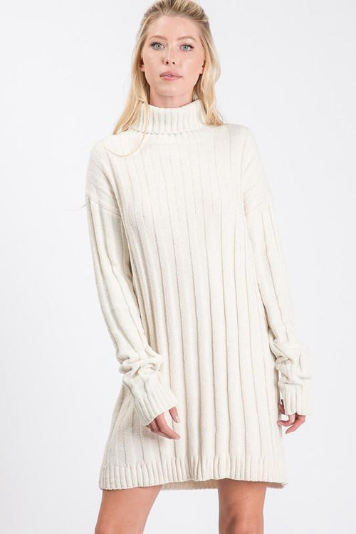 Cream Long Sleeve Turtleneck Knit Sweater Dress