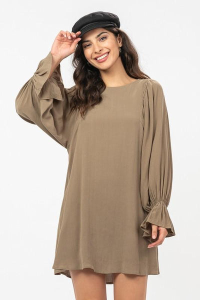 Olive Wide Ballon Sleeve Shift Dress