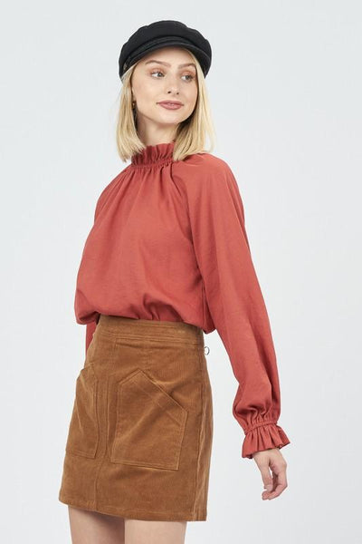 Rust Colored Mock Long Sleeve Blouse