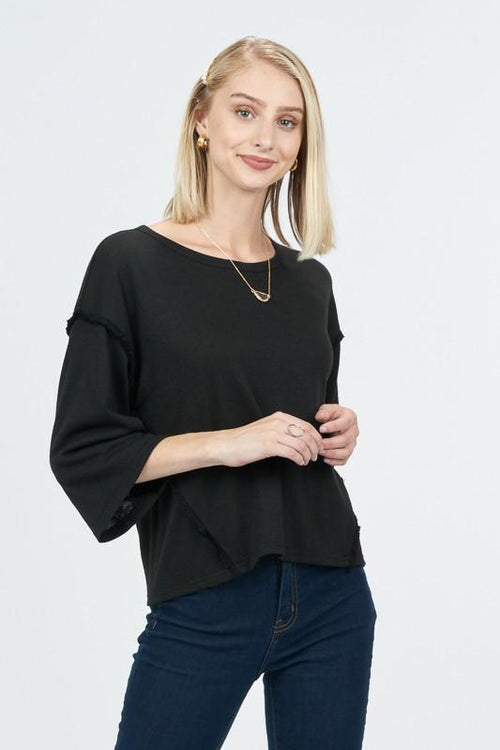 Black Heathered Knit Long Sleeve Top