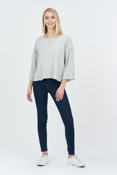 Grey Heathered Knit Long Sleeve Top
