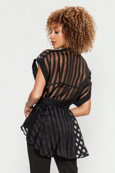Black Sheer Organza Striped Top