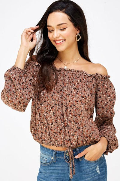 Taupe Floral Print Off Shoulder Top