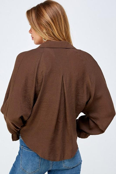 Brown Notched Tie Front Top