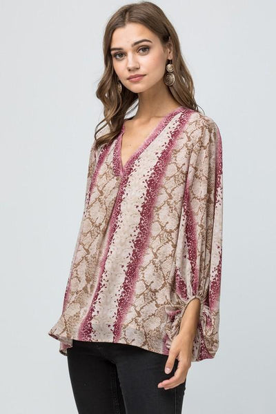 Burgundy Reptile V-neck Top - THE WEARHOUSE