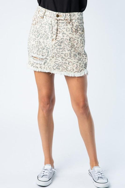Animal Print Distressed Skirt - THE WEARHOUSE