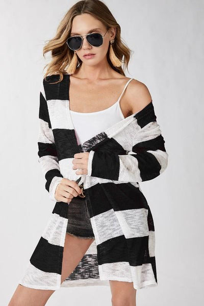 Black and White Wide Striped Cardigan