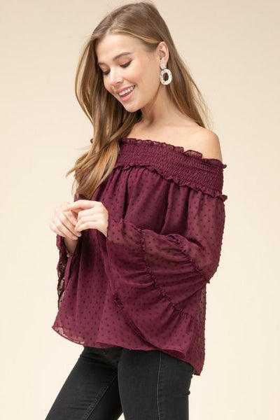 Burgundy Dotted Swiss Off Shoulder Top