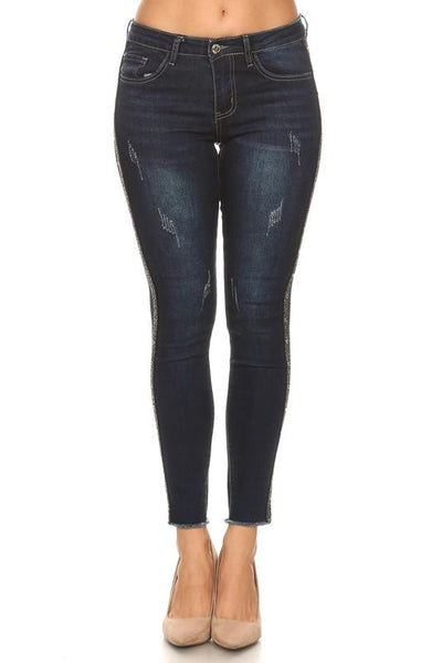 Danica Dark Washed Studded Side Skinny Jeans - THE WEARHOUSE