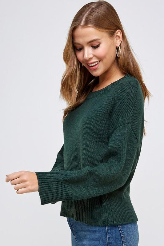 Hunter Green Round Neck Dolman Sleeve Sweater