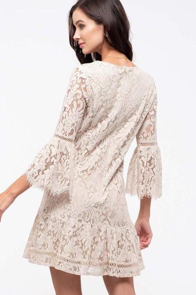 Khaki Long Sleeve Midi Lace Dress