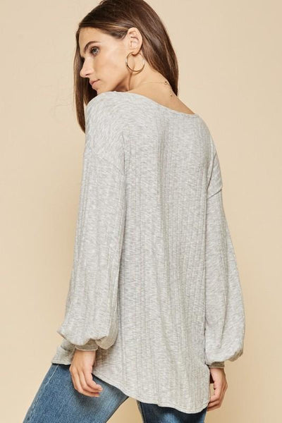 Heather Grey Long Sleeve Pull Over Top - THE WEARHOUSE