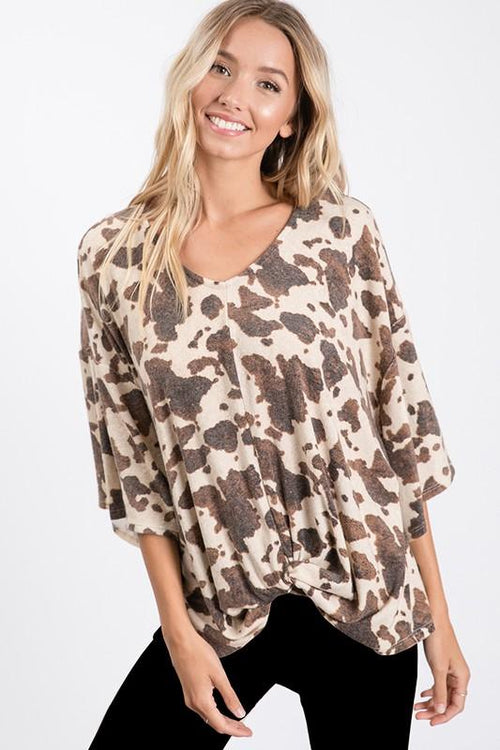 Brown Camouflage Soft Texture Top