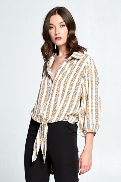 Chain Print Button Down Pop Sleeve Top