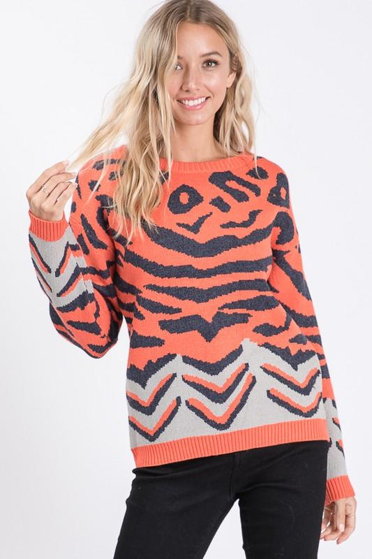 Coral Animal Print Round Neck Sweater