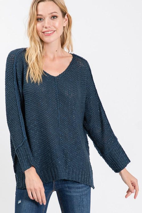Teal V Neck Long Sleeve Seam Sweater