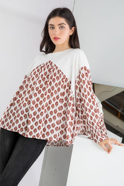 Red and White Print Drop Shoulder Top - THE WEARHOUSE