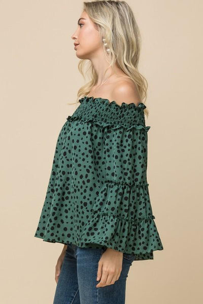 Green Leopard Print off-Shoulder top