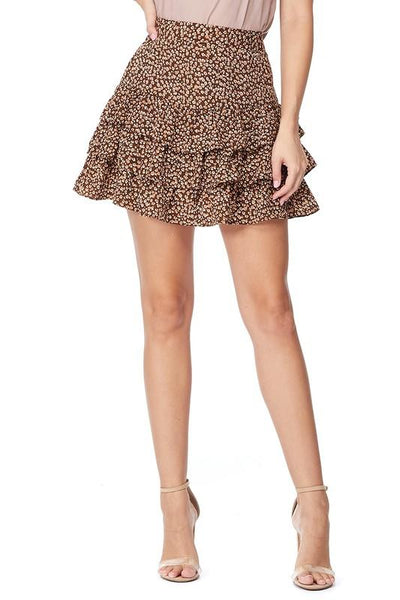 Brown Leopard Print Ruffle Mini Skirt