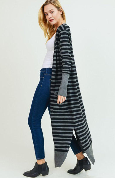 Black and Charcoal Striped Maxi Cardigan