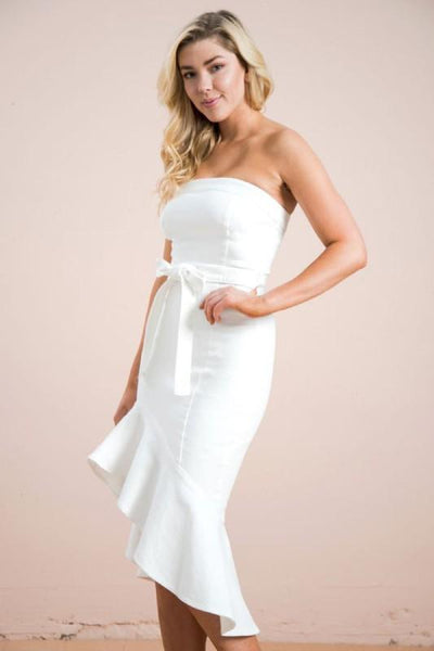 White Stretch Denim Mermaid Dress