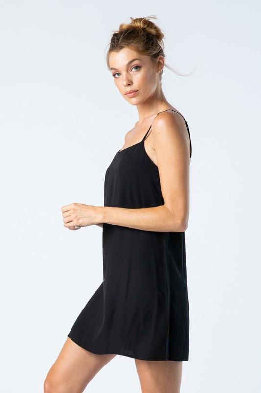Black Solid Tank Top Dress