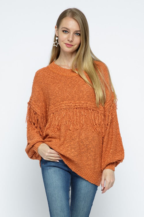 Rust Colored Round Neck Sweater with Tassel Detail