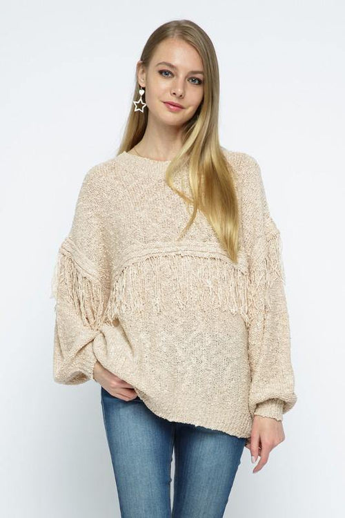 Beige Round Neck Sweater with Tassel Detail